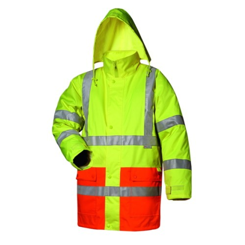 2 in 1 Warnschutz Parka gefüttert mit Reflexstreifen Safestyle 23530 Thilo gelb/orange