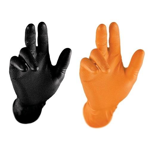 Stronghand Nitril Einweghandschuhe Arbeitshandschuhe mit Lebensmitteleignung 0422 0424 Grip schwarz/orange