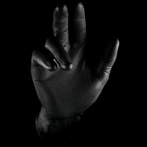 Stronghand Nitril Einweghandschuhe Arbeitshandschuhe mit Lebensmitteleignung 0422 Grip schwarz - Größe 7-8 (M)